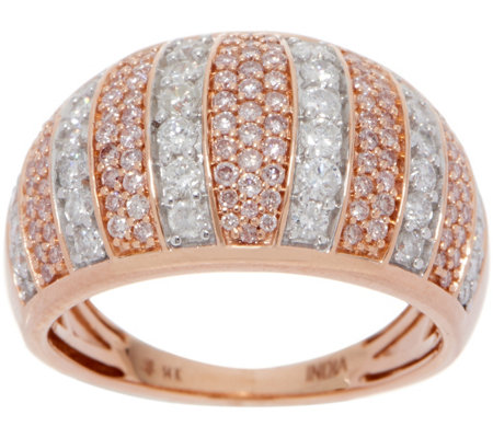 Natural Pink & White Diamond Ring, 14K Gold, 1.00 cttw by Affinity