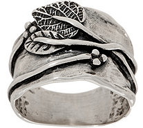 Or Paz Sterling Raised Leaf Graduated Band Ring - J352461