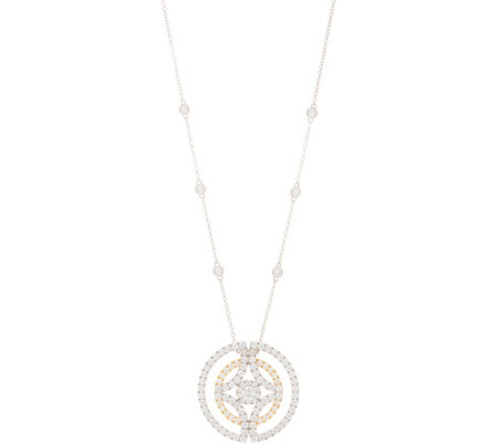TOVA Diamonique Two-Tone Circle Pendant with Chain, Sterling