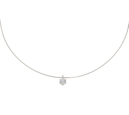 Diamonique 9/10 ct Solitaire Necklace Sterling