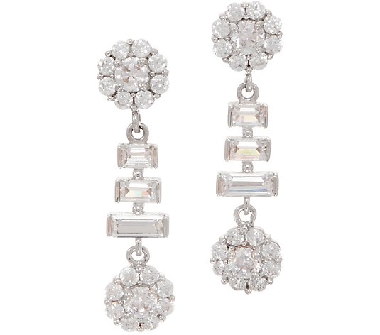 Diamonique Royal Collection Baguette and Round Earrings