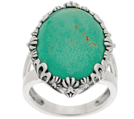 american west oval greenish blue turquoise bold ring page 1 qvc com