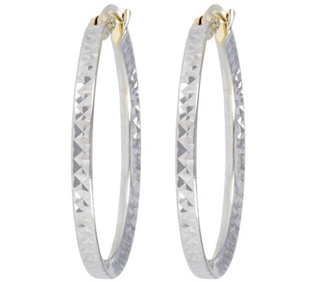 "Italian Gold 1"" Polished & Diamond Cut Hoop Earrings 14K Gold"