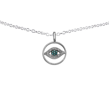 Reversible Evil Eye Pendant, Sterling, 1/5 cttw, by Affinity