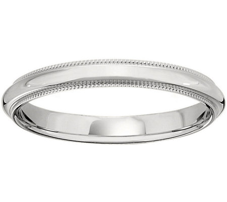 Women's 18K White Gold 3mm Milgrain Wedding Band