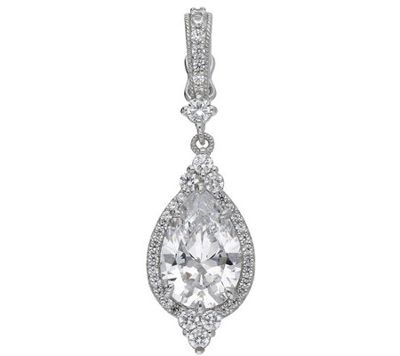 Judith Ripka Sterling Pear Shaped Diamonique Halo Pendant
