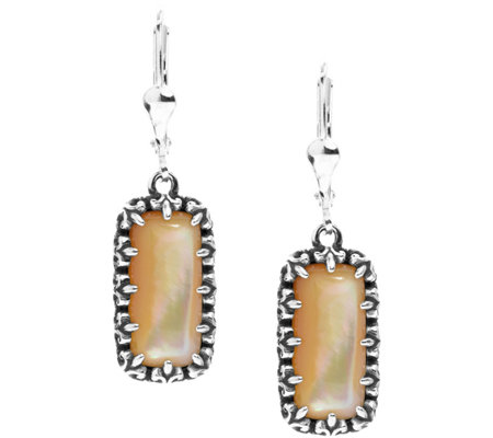 Carolyn Pollack Sterling Positano Gemstone Rectangle Earrings