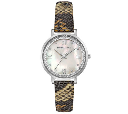 BCBGMAXAZRIA Women's Snake-Pattern Leather Ba nd Watch