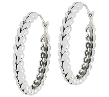 5d03e94ee0a7b Tiffany Kay Studio Sterling Herringbone Oval Hoop Earrings — QVC.com