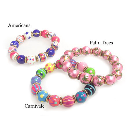 Angela Moore Hand Enameled Beaded Stretch Bracelets