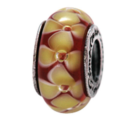 Prerogatives Sterling Yellow and Red Floral Glass Bead