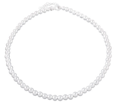 "UltraFine Silver 18"" Polished Bead Necklace, 19.5g"