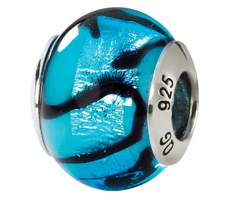 Prerogatives Sterling Blue & Black Italian Murano Glass Bead