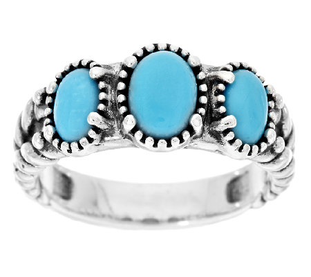 American West Sleeping Beauty Turquoise Sterling Silver 3-Stone Ring