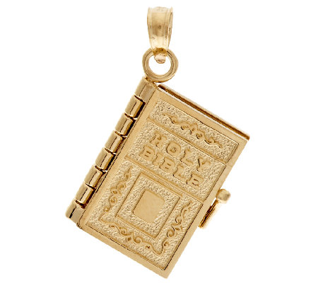 14K Gold Yellow Moveable Bible Pendant