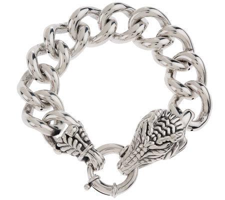 Ross Simons Sterling 7 1 4 Curb Link Dragon Bracelet