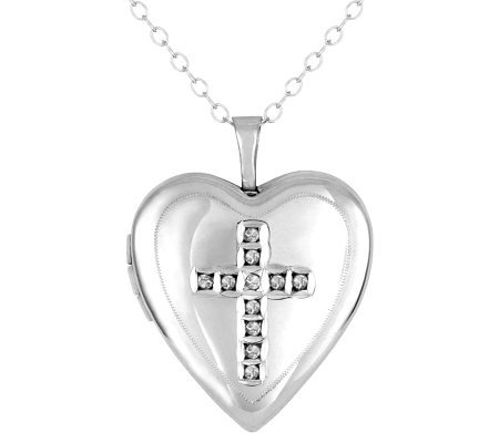 Diamond Fascination Sterling Heart & Cross Locket with Chain