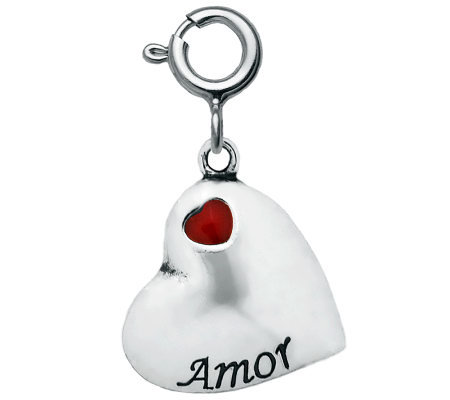 "Sterling ""Amor"" Red Epoxy Enamel Heart Charm"