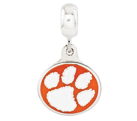 Sterling Silver Clemson University Dangle Bead