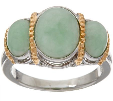 Jade Oval 3-Stone Sterling Silver Ring