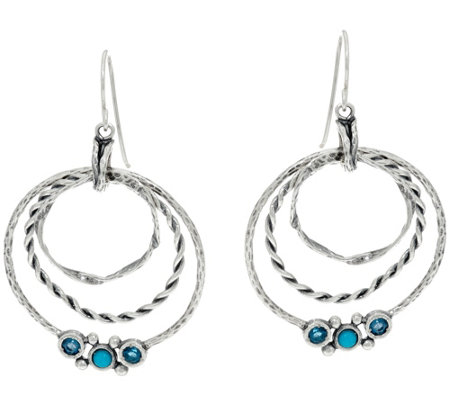 Or Paz Sterling Silver Multi-textured Gemstone Accent Earrings