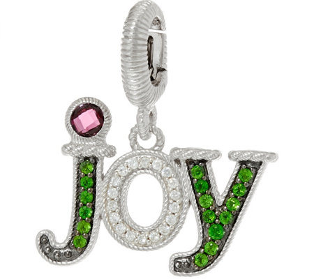 Judith Ripka Sterling Silver Gemstone & Diamonique Joy Charm