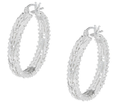 Imperial Silver Mirror Wheat Hoop Earrings, Sterling Silver