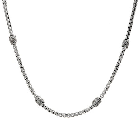 "JAI Sterling Silver Textured Station Box Chain 18"" Necklace, 32.7g"