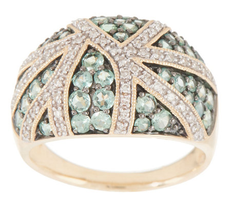 Alexandrite and Diamond 14K Gold Pave Band Ring, 1.35 cttw