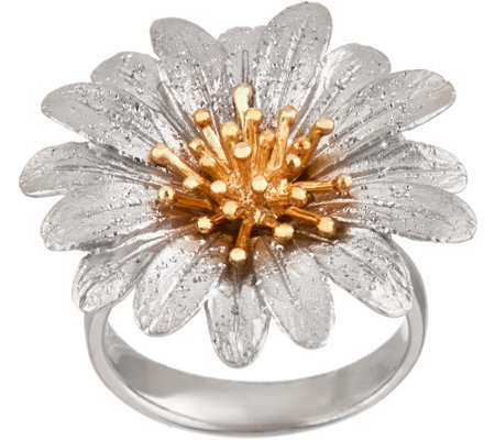 """As Is"" Italian Silver Sterling Flower Ring"