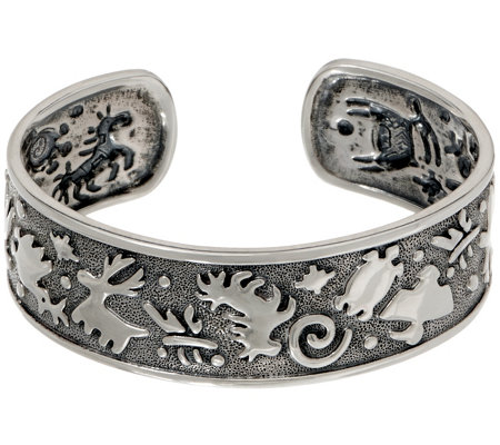 Jody Naranjo Sterling Silver Textured Polished Symbols Cuff
