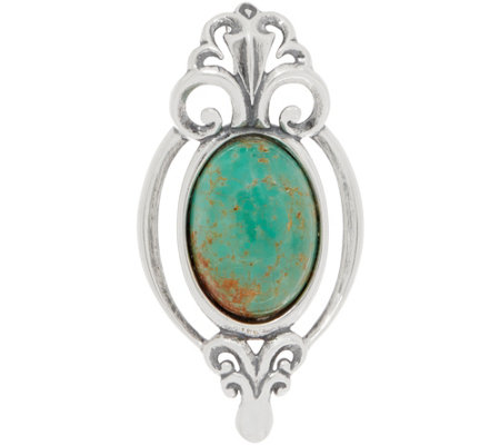Carolyn Pollack Country Couture Sterling Silver Green Turquoise Enhancer