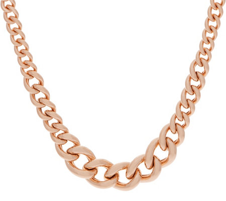 "Bronzo Italia Graduated Curb Link Bronze 18"" Necklace"