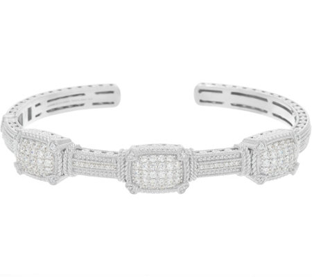 """As Is"" Judith Ripka Sterling 1.90 cttw Pave' Diamonique Cuff Bracelet"