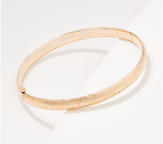 EternaGold Avg. Polished or Diamond Cut Design Bangle, 14K Gold