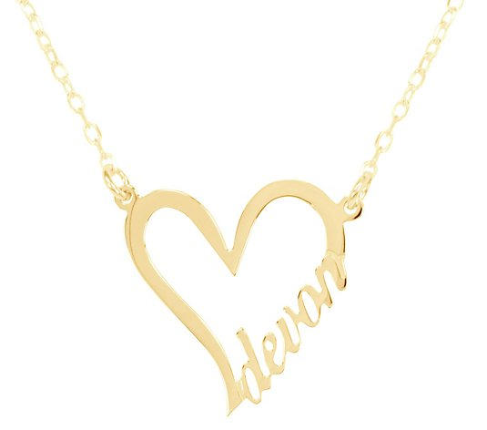 14K Plated Sterling Personalized Heart Name Necklace