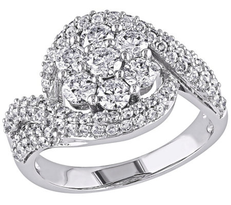 Diamond Floral Swirl Engagement Ring, 14K, 2 cttw, by Affinit