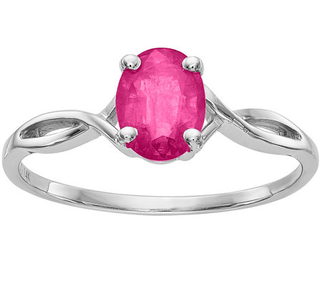 14K Gold Oval Pink Sapphire Ring