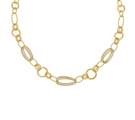 14K Two-tone Textured Multi Link Necklace, 6.7g