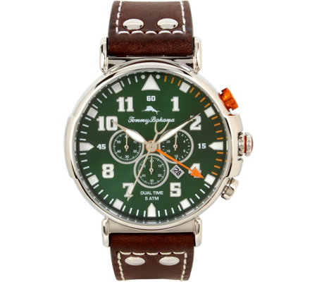 Tommy Bahama Chronograph & Date Leather-Strap Watch