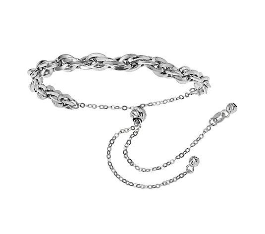 Italian Gold Loose Curb-Link Adjustable Bracelet 14K, 3.3g