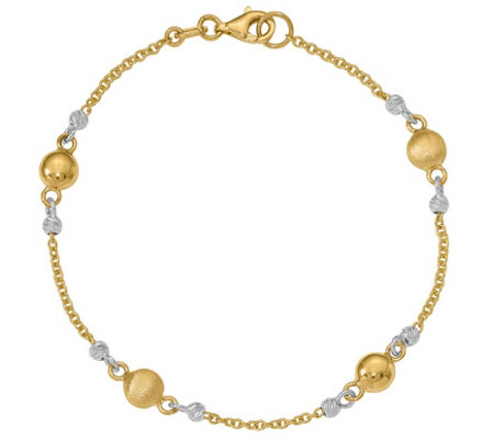 "Italian Gold 7-1/2"" Two-Tone Bead Station Bracelet 14K, 3.7g"