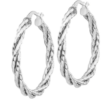 "Italian Gold 1-1/4"" Twisted Hoop Earrings 14K,2.2g"