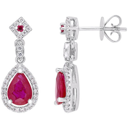 14K Gold 1.75 cttw Ruby & Diamond Pear Drop Earrings