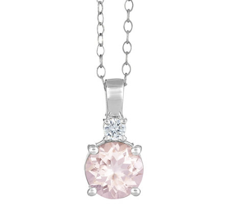 14K Gold 1.50 cttw Round Morganite Pendant withChain