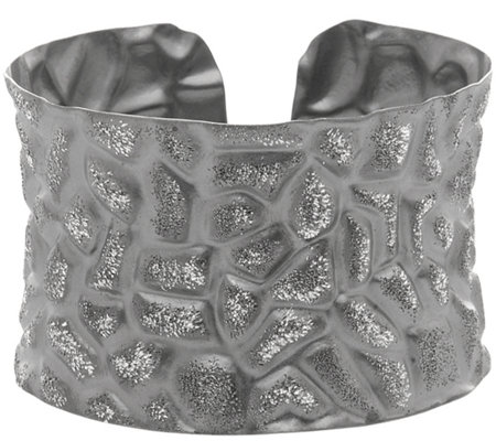Italian Silver Hammered Wide Cuff