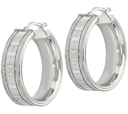 "Italian Silver 1-1/8"" Round Glitter Hoop Earrings"