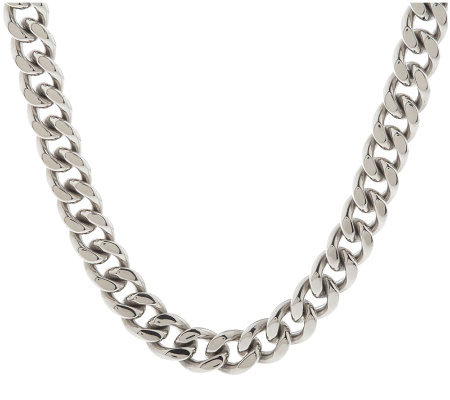 Forza Men's Stainless Steel Curb Link Necklace