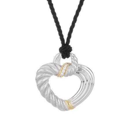 Judith ripka sterling14kcla diamonique heart on 36 adjustable cord judith ripka sterling14kcla diamonique heart on 36 adjustable cord aloadofball Images