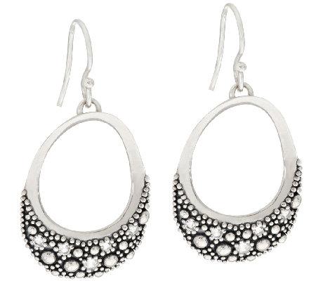 Michael Dawkins Sterling Starry Night White Topaz Oval Earrings
